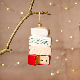 Personalized Stack of Cheeses Christmas Ornament