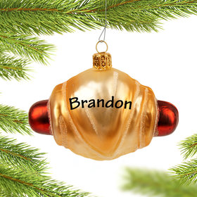 Personalized Mini Hot Dog Roll Christmas Ornament