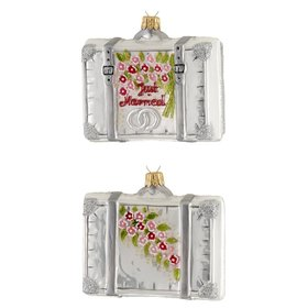 Personalized Silver Honeymoon Suitcase Christmas Ornament