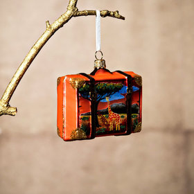 Personalized Africa Travel Suitcase Christmas Ornament