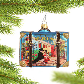 Personalized Argentina Travel Suitcase Christmas Ornament