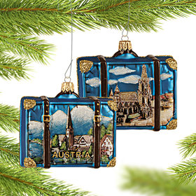 Personalized Austria Travel Suitcase Christmas Ornament