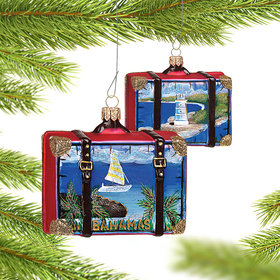 Personalized Bahamas Travel Suitcase Christmas Ornament