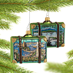 Personalized Brazil Travel Suitcase Christmas Ornament