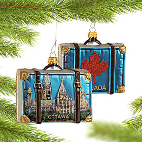 Personalized Canada Travel Suitcase Christmas Ornament