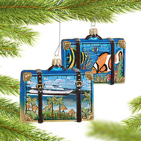 Personalized Caribbean Travel Suitcase Christmas Ornament