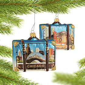 Personalized Chicago Travel Suitcase Christmas Ornament