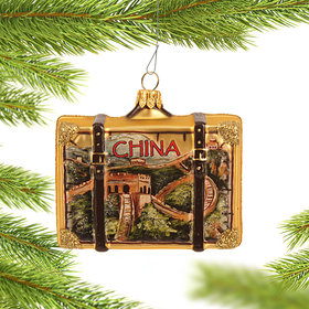 Personalized China Travel Suitcase Christmas Ornament