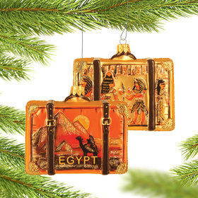Personalized Egypt Travel Suitcase Christmas Ornament