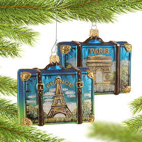 Personalized France Travel Suitcase Christmas Ornament