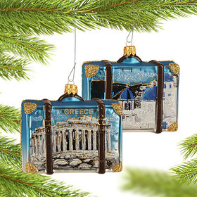 Personalized Greece Travel Suitcase Christmas Ornament