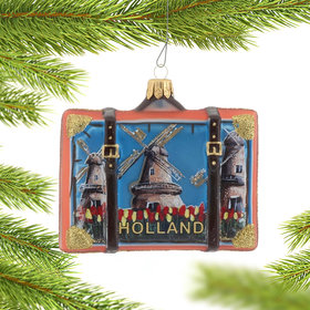 Personalized Holland Travel Suitcase Christmas Ornament