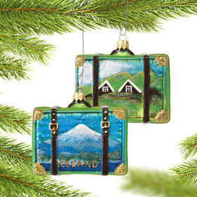 Personalized Iceland Travel Suitcase Christmas Ornament