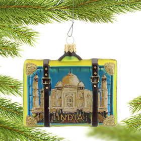 India Travel Suitcase Christmas Ornament