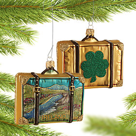 Personalized Ireland Travel Suitcase Christmas Ornament