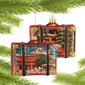 Personalized Japan Travel Suitcase Christmas Ornament