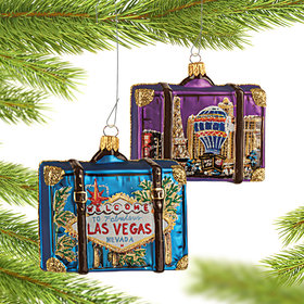 Personalized Las Vegas Travel Suitcase Christmas Ornament