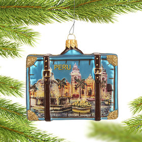 Personalized Peru Travel Suitcase Christmas Ornament