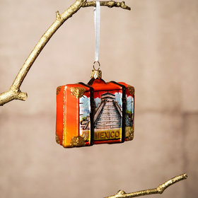 Personalized Mexico Travel Suitcase Christmas Ornament