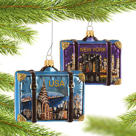 Personalized New York City Travel Suitcase Christmas Ornament