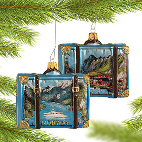 Personalized Norway Travel Suitcase Christmas Ornament