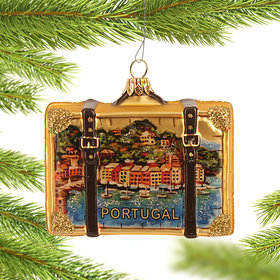 Personalized Portugal Travel Suitcase Christmas Ornament