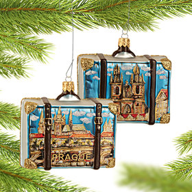 Personalized Prague Travel Suitcase Christmas Ornament