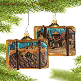 Personalized Provence France Travel Suitcase Christmas Ornament