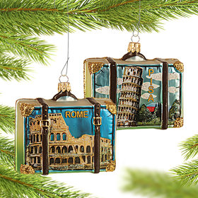 Personalized Rome Travel Suitcase Christmas Ornament