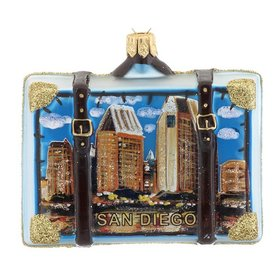 Personalized San Diego Travel Suitcase Christmas Ornament
