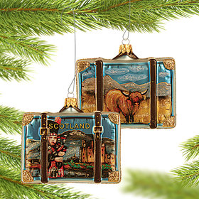 Personalized Scotland Travel Suitcase Christmas Ornament