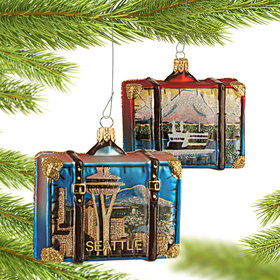 Personalized Seattle Travel Suitcase Christmas Ornament