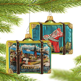 Personalized Sweden Travel Suitcase Christmas Ornament
