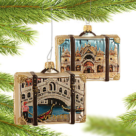 Personalized Venice Travel Suitcase Christmas Ornament