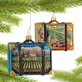 Personalized Wine Country Travel Suitcase Christmas Ornament