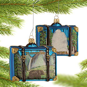 Personalized Yellowstone Travel Suitcase Christmas Ornament