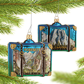 Personalized Yosemite Travel Suitcase Christmas Ornament