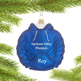 Personalized Blue Hoodie Sweatshirt Christmas Ornament