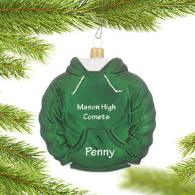 Personalized Green Hoodie Sweatshirt Christmas Ornament