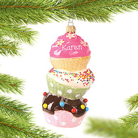 Personalized Stacked Cupcakes Christmas Ornament