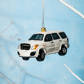 Personalized SUV Car White Christmas Ornament