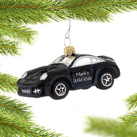 Personalized Black Sports Car Christmas Ornament