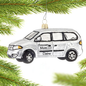 Personalized Silver Minivan Christmas Ornament