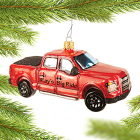 Personalized Classic Red Pick Up Truck Christmas Ornament