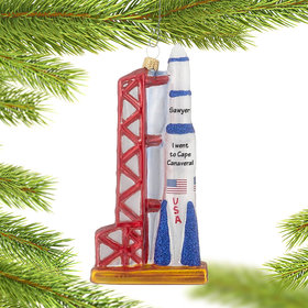 Personalized Rocket Launch Christmas Ornament