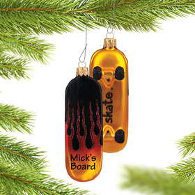 Personalized Sleek Skateboard with Flames Christmas Ornament