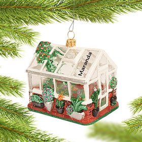 Personalized Gardener's Greenhouse Christmas Ornament