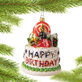 Personalized Happy Birthday Cake Christmas Ornament
