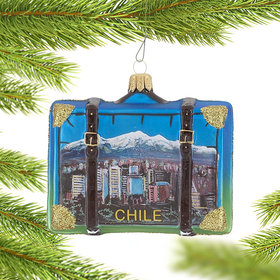 Personalized Chile Travel Suitcase Christmas Ornament