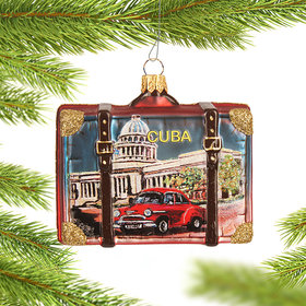 Personalized Cuba Travel Suitcase Christmas Ornament